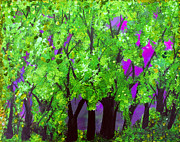 Tree Blossoms Paintings - Purple  Plum Fuschia Forest by Suzeee Creates
