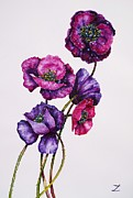 Poppies Art Gift Prints - Purple Poppies Print by Zaira Dzhaubaeva