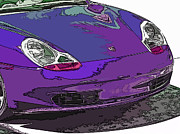 Sam Sheats Photo Framed Prints - Purple Porsche Nose 2 Framed Print by Samuel Sheats