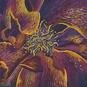 Flower Center Paintings - Purple Power by Shawna Elliott