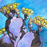 Arboretum Tapestries Textiles Originals - Purple Prickly Pear 1 by Sandy Tracey