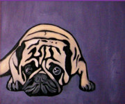 Darren Stein Painting Prints - Purple Pug Print by Darren Stein