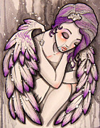 Wings Drawings - Purple rain by Margie Forestier
