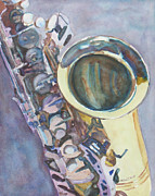 Saxaphone Prints - Purple Sax Print by Jenny Armitage