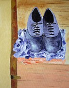 Laces Painting Posters - Purple shoes Poster by Riana Van Staden