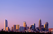 Mecklenburg County Prints - Purple sky over Charlotte NC Print by Patrick Schneider
