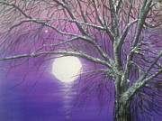 Snowy Night Night Framed Prints - Purple snow Framed Print by Irina Astley