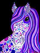 Horse Drawings - Purple Spotted Horse by Nick Gustafson