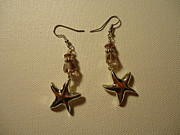 Animals Jewelry Originals - Purple Starfish Earrings by Jenna Green