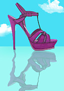 Stilettos Paintings - Purple Stilt Stilettos Reflections by Elaine Plesser