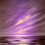 Sunset Pieces Posters - Purple Sunset Poster by Gina De Gorna