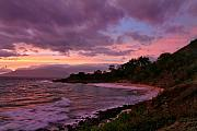 Hawaii Sunset Posters - Purple sunset of Makena Little Beach Maui Hawaii Poster by Pierre Leclerc