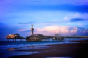 Purple Sunset Pier Print by Catherine Murton