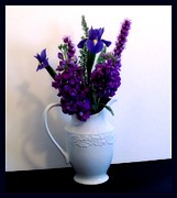 Pitcher Digital Art - Purple Toned Flowers by Marsha Heiken