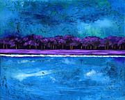 Luminous Prints - Purple Trees on the Shore Print by EJ Lefavour