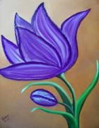 Purple Tulip Paintings - Purple Tulip by Zoraida Cortes