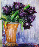 Vase Sculpture Framed Prints - Purple tulips in vase Framed Print by Raya Finkelson