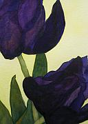 Purple Tulip Paintings - Purple Tulips by Jan  Porterfield