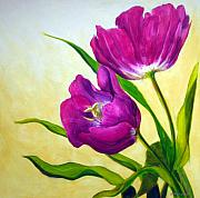 Purple Floral Prints - Purple Tulips Print by Scott Gordon