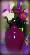 Petals Art Mixed Media - Purple Vase by Jan Steadman-Jackson
