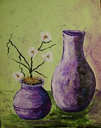 Purple Sculpture Prints - Purple vases Print by Patsi Stafford