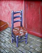 Ladderback Chair Paintings - Purple Vincent by JW DeBrock