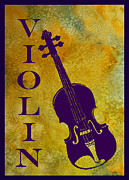 Violin Digital Art Posters - Purple Violin on Gold Poster by Jenny Armitage