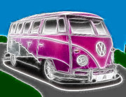 Hippie Mixed Media Posters - Purple VW Bus Poster by Paul Van Scott