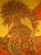 Native-american Tapestries - Textiles Prints - Purple Warrior Print by Austen Brauker