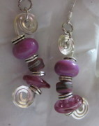 Abstract Jewelry - Purple Whimsy Earrings by Janet  Telander