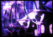 Wine Glasses Pastels Posters - Purple Wine Bar Poster by D Rogale