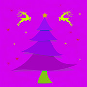 Seasonal Art Posters - Purple Xmas Poster by Atiketta Sangasaeng