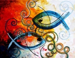 Christian Art Painting Prints - Purposeful Ichthus by Two Print by J Vincent Scarpace