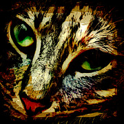 Kitty Digital Art Metal Prints - Purr-fect Love Metal Print by David G Paul