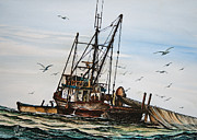 Maritime Greeting Card Painting Originals - Purse Seiner by James Williamson