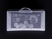 Coins Framed Prints - Purse, Simulated X-ray Framed Print by Mark Sykes