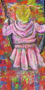 Child Swinging Painting Originals - Push Me Daddy by Jacqueline Athmann