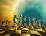 Chessboard Prints - Pushing Back The Knight Print by Bob Orsillo