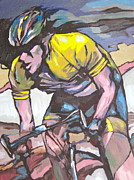 Tour De France Paintings - Pushing it to the Limit by Sandy Tracey
