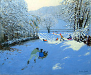 Tobogganing Prints - Pushing the Sledge Print by Andrew Macara
