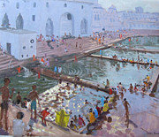 India Painting Metal Prints - Pushkar ghats Rajasthan Metal Print by Andrew Macara