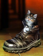 Cats Digital Art Digital Art Prints - Puss in Boot Print by Julie L Hoddinott