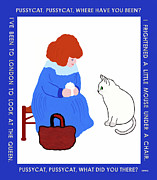 Mother Goose Posters - Pussycat Pussycat Mother Goose Nursery Rhyme Poster by Marian Cates