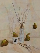 Fauna Mixed Media Originals - Pussywillows and Pears by Sandy Clift
