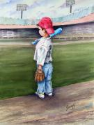 Baseball Glove Painting Metal Prints - Put Me In Coach  Metal Print by Sam Sidders