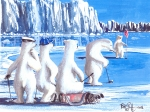 Polar Bears Paintings - Putt for dough by Bob Patterson