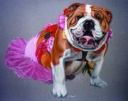 Tutu Pastels Prints - Putting on the Dog Print by Deb LaFogg-Docherty
