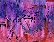 Mechanism Painting Posters - Puzzle in Purple Poster by Regina Valluzzi