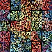 Rainbow Tapestries - Textiles Metal Prints - Puzzling Metal Print by Carol Ann Waugh