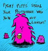 Wizard Digital Art Originals - Pygmy Puffs Steal Butterbeer by Jera Sky